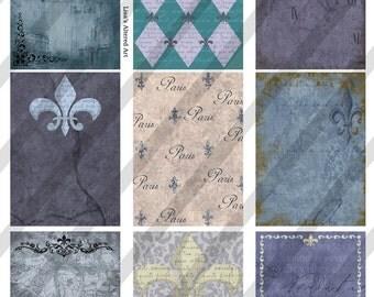 Digital Collage Sheet Backgrounds French Blue Fleur-De-Lis (Sheet no.FS55) Instant Download