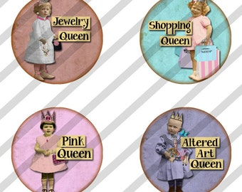 Digital Collage Sheet,  Round Bottle Cap images, 1 inch Circles  Queens (Sheet no.FS192) Instant Download