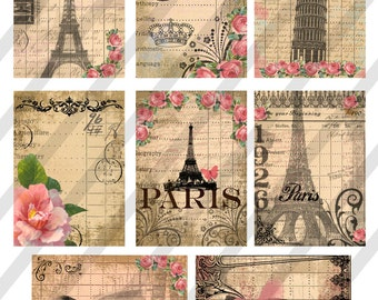 Digital Collage Sheet Paris Background Images (Sheet no. O40) Instant Download