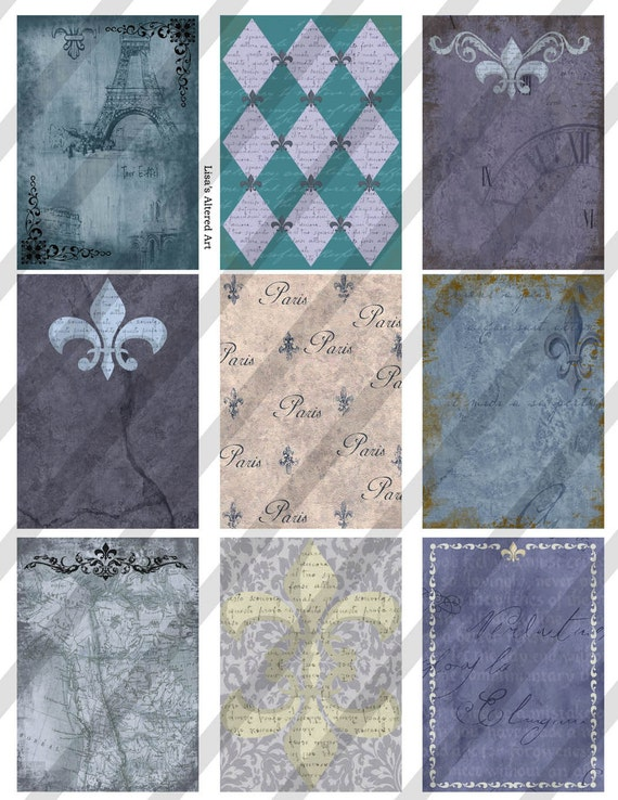 Digital Collage Sheet Backgrounds French Blue Fleur-De-Lis (Sheet no.FS55) Instant Download