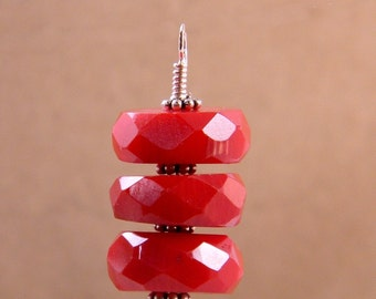 Interchangeable  Earrings; Sterling Silver Earring Charms; Faceted Red Coral Stacks drops; changeable earrings