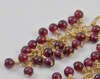 Gemstone Garnet and Gold Cascade Earrings - Dangle - Drop - Linear -  Cluster - Birthstone - Anniversary