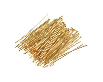 "100 Gold Headpins 1"" Short Gold Head Pins Gold Plated Findings 1 Inch Headpins (FS134)"