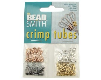 600 Assorted Crimp Tube Beads 1.5mm x 1.5mm Crimp Beads Crimp Tubes Silver Gold Copper Gunmetal Findings Mix (FB3-20)