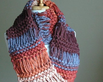 Sunset Colors Chunky Knit Infinity Scarf, Knit Scarf, Circle Drop Stitch, Original Design, Burnt Orange, Blue,Tan, Womens Scarf, Vegan Scarf