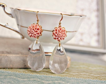 The flower girl. sweet floral tear drop earrings.