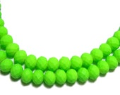 6x8mm Neon Green faceted rubberized rondelle beads 30pcs