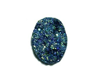 18x25mm Oval Faux Druzy Metallic Blue Nugget Cabochon 1 piece