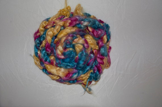 100g Handpainted Silk Roving in Rainbow Colourway