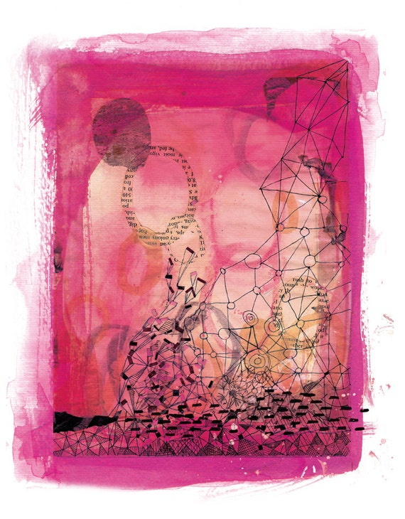 Pink Collage Unframed Archival Giclee Wall Art Print abstract watercolour