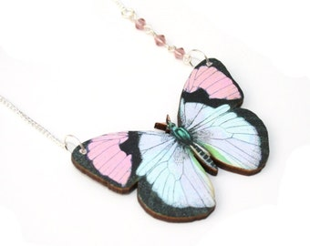 Pale Pink Butterfly Necklace, Wooden Butterfly, Illustration Pendant, Asymmetrical Necklace, Animal Necklace, Wood Jewelry