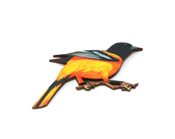 Orange Bird Brooch, Wooden Bird Brooch, Bird Illustration, Animal Brooch, Wood Jewelry