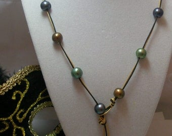 Mardi Gras Genuine Pearl  Lariat Double strand Necklace with Pearl toggle clasp on metallic gold and black Leather