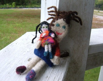 Mini Felted  Doll