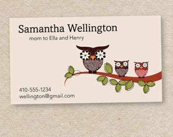 50 Stylish Mommy Calling Cards (Mama Owl)