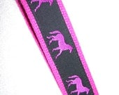 Key Fob Wrist Key Chain Preppy Hot Pink and Black Horses on Hot Pink
