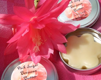 PINK SUGAR BUTTER Beeswax Lotion 4 oz Tin