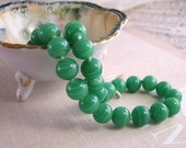 Jade green vintage Japanese lampwork glass bead strand