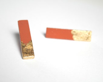 Coral and gold.  Hand painted stud sticks earrings. Surgical stainless steel posts. Minimalist earrings.