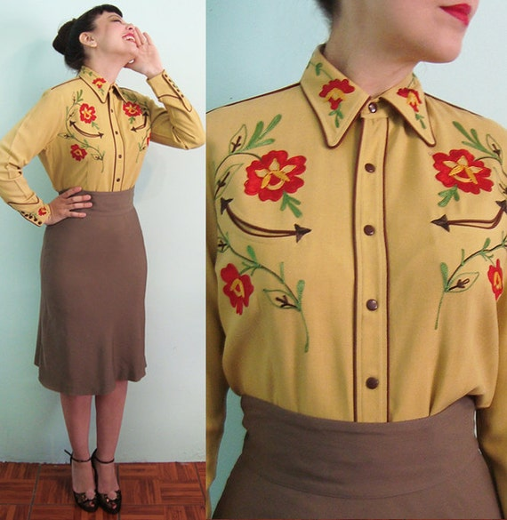 40s XL Western Wear Embroidered Cowgirl Blouse Gabardine