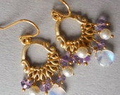 Flash of Sass Mini Moonstone and purple amethyst gold vermeil chandelier earrings