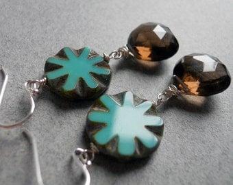 Pinwheel Smoky Quartz and Turquoise Czech Glass Earrings