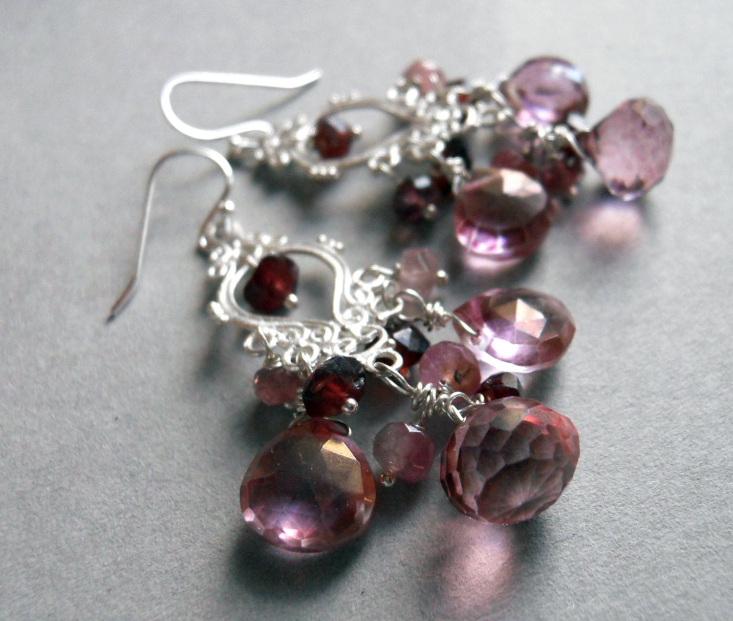 Pink is Sexy Mystic quartz Tourmaline and garnet chandelier earrings : Collection - $125.00 USD