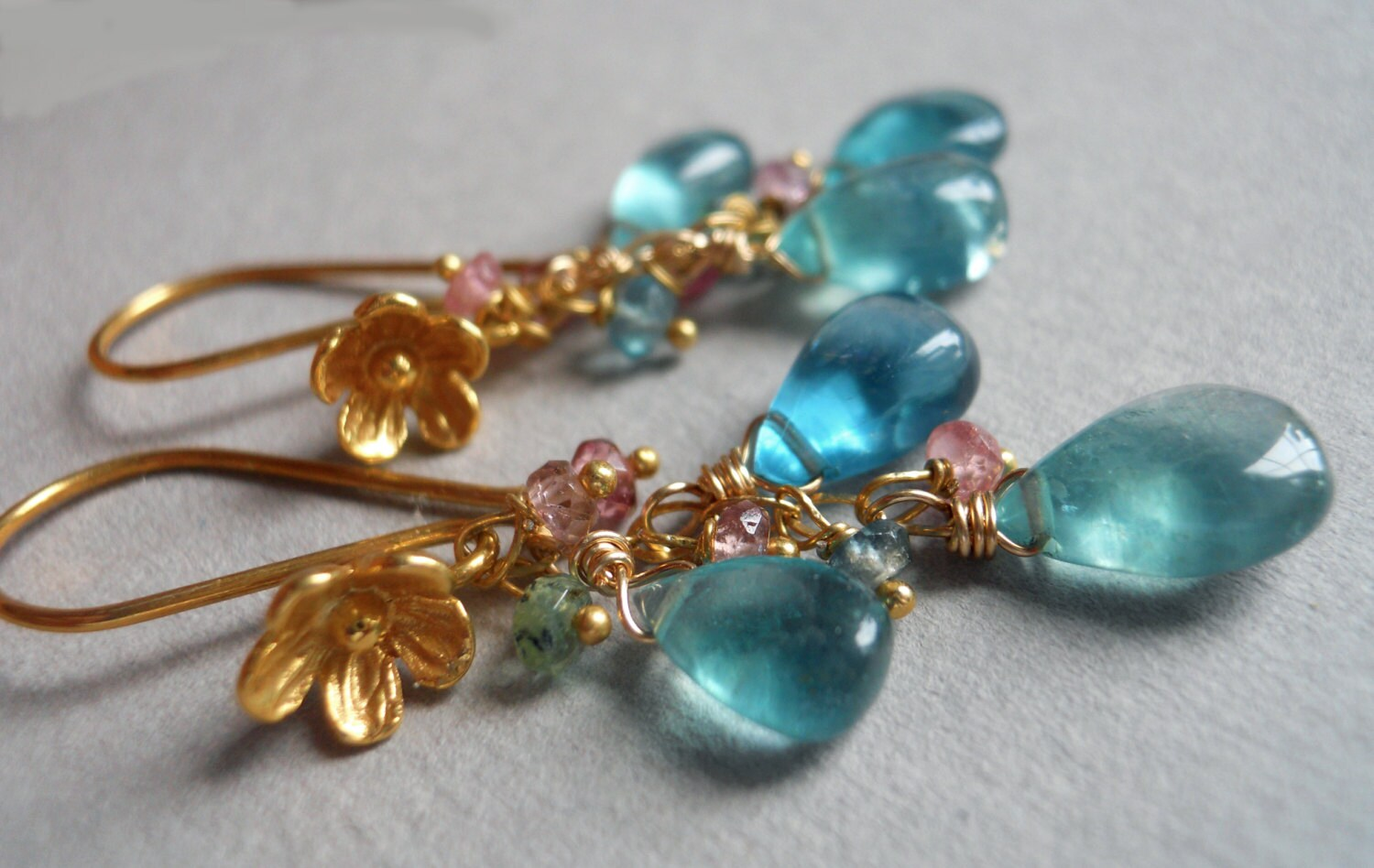 Flower Drops fluorite and tourmaline drop earrings - $72.00 USD