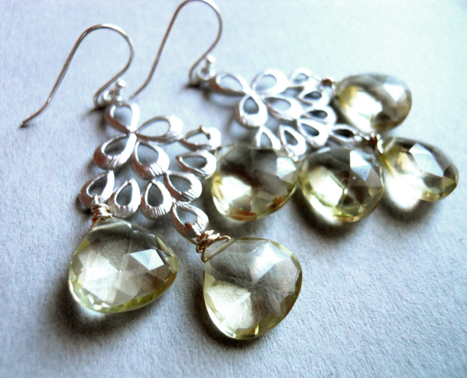 Lemon Quartz Matte Silver Chandelier Earrings / Orient Collection - $105.00 USD