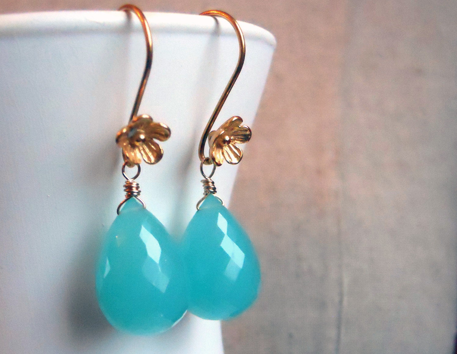 Seafoam Teardrop Chalcedony Cherry Blossom Earrings - $56.00 USD