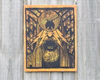 The Light 8X10 Wood Screenprint Orange