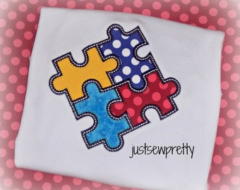 Autism Awareness Puzzle Embroidery Applique Design