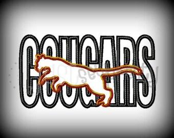 Cougars Sillouette Embroidery Applique Design
