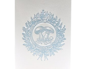 Letterpress Note Card Vintage Mushroom in Vintage Blue