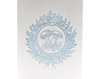 Letterpress Note Card Vintage Mushroom in Vintage Blue