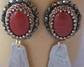 Jasper Bezeled Earrings