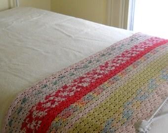 Afghan Colorful Cotton Pastels • Vintage Afghan Blanket • Vintage Handmade Afghan
