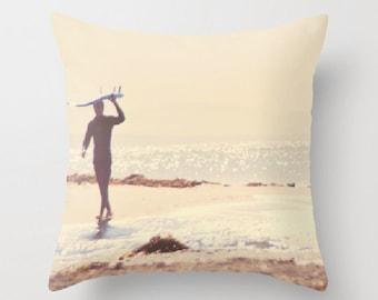 beach cottage decor, 16x16 18x18 pillow cover, nautical surfer home decor, beach photo, brown cream, surfer pillow bedding, boys room decor