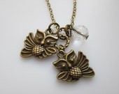 Owl Necklace, Owl Charm Necklace, Vintage Style Owl Charms, Flying Owls, Antique Gold Owl Pendants