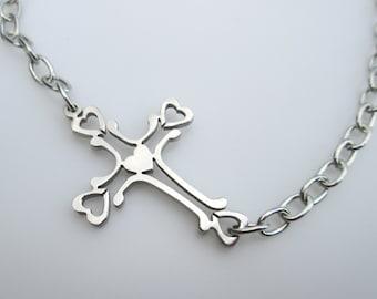 Sideways Cross Hearts Necklace