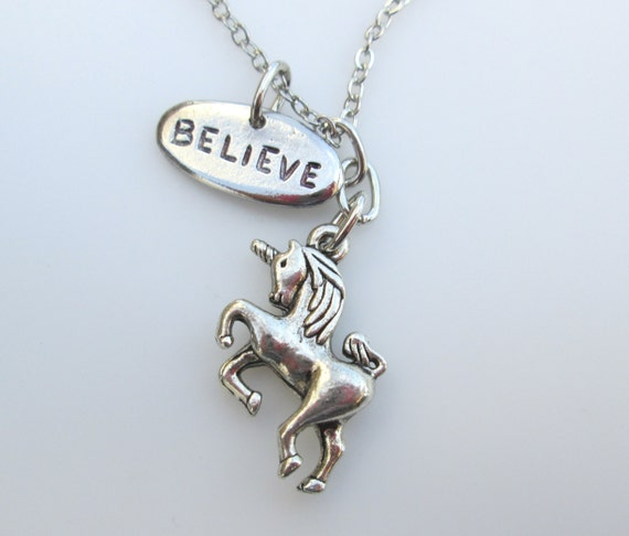 Believe in Unicorns Necklace in Silver Finish
