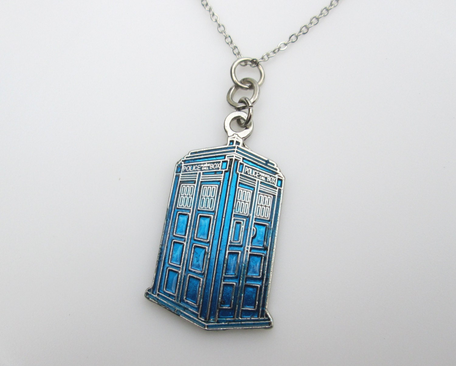 tardis necklace blue tardis pendant doctor who by luckysparks