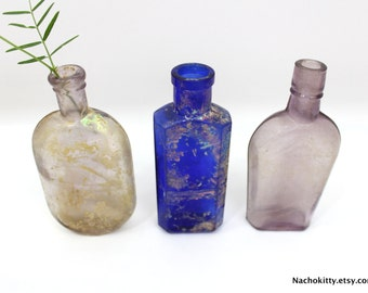 3 Old Bottles: Lavender Purple & Cobalt Blue