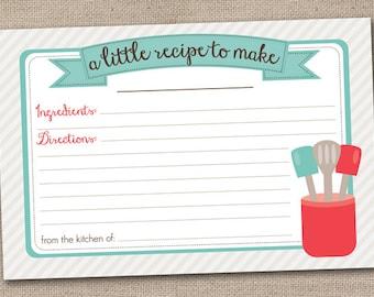 Printable Recipe Card Design - Kitchen Utensils - INSTANT DOWNLOAD