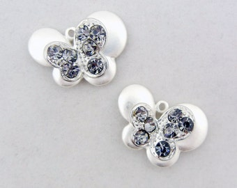 Pair of Small Matte Silver-tone Butterfly Charms Gray Rhinestones