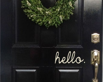 hello door lettering 4  x 8  you choose the color vinyl decal lettering & Hello lettering   Etsy pezcame.com