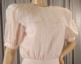 Vintage 1970s Pink Gunne Sax Lace Dress Size 7 8 b38