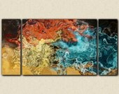 """Abstract wall art stretched canvas print, 30x60 to 40x78 in earth tones, from abstract painting """"Extravaganza"""""""