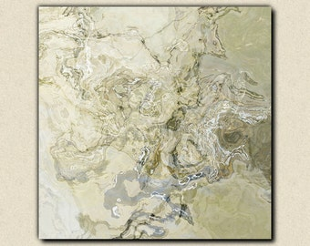 "Large modern art stretched canvas print, 30x30 to 36x36 abstract in pale neutral tones, from abstract painting ""Ice Age"""