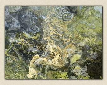 "Large abstract stretched canvas print, 30x40 to 40x54, in neutral tones, from abstract painting ""Hold On"""